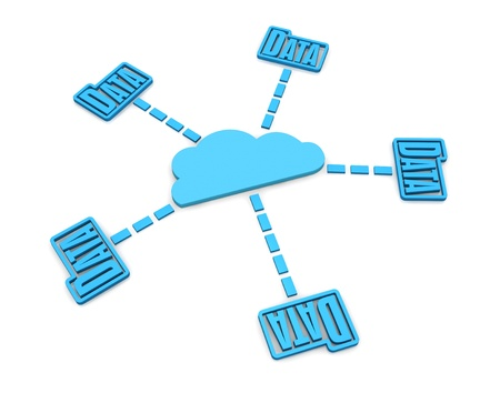 some stylized folders connected to a cloud, concept of cloud computing network (3d render) Stock Photo - 11240569