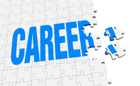 a jigsaw puzzle that form the word career (3d render) photo
