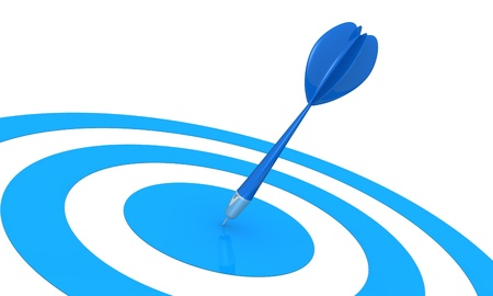 pointed arrows: one target and a dart on center (3d render) Stock Photo