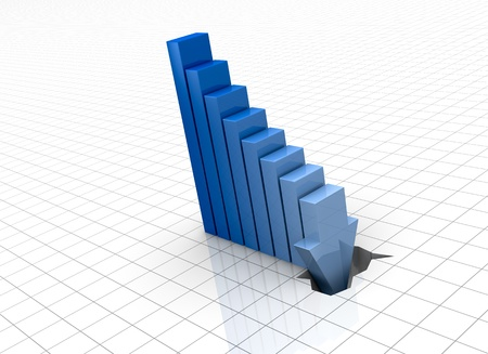 one bar chart with the last bar that breaks the floor, concept of crisis or bankrupt (3d render) photo
