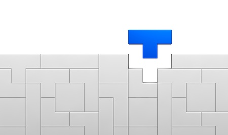 tetris: one interlocking game made with pieces of various shapes (3d render)