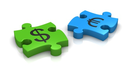 puzzle pieces with the symbols of euro and dollar currency (3d render) photo