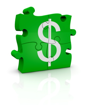 puzzle pieces that form the symbol of dollar currency (3d render) photo