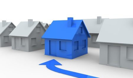home search: some miniature houses with one in different color (3d render)