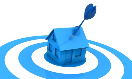 wit: one miniature house at the centre of a target wit an arrow on the roof (3d render) Stock Photo