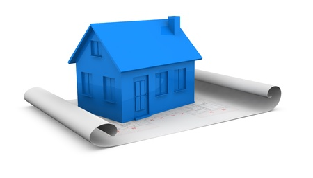 one house placed over a project plan (3d render) Stock Photo - 11505612