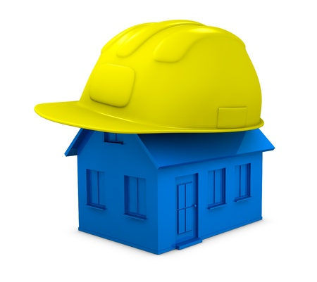 one miniature house with an helmet on top of it (3d render) Stock Photo - 11505585