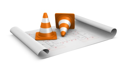 two traffic cones  placed over a plan project (3d render) photo