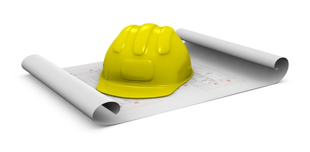 new development: one construction helmet  placed over a plan project (3d render) Stock Photo