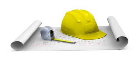 one construction helmet and a tape measure placed over a plan project (3d render) photo