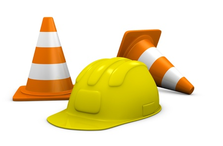 traffic cone and construction helmet, concept of work (3d render) photo