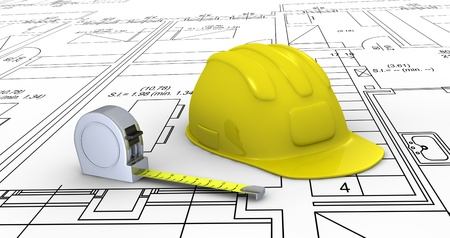 one construction helmet and a tape measure placed over a plan project (3d render) Stock Photo - 11505656