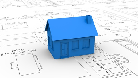 one house placed over a project plan (3d render) Stock Photo - 11505662
