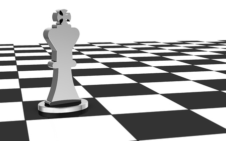 close up of a chess board with the king alone (3d render) photo