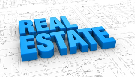 nobody real: the words: real estate placed over a plan project (3d render) Stock Photo