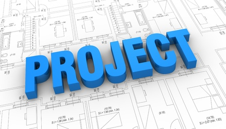 the word: project placed over a plan project (3d render) Stock Photo - 11505663