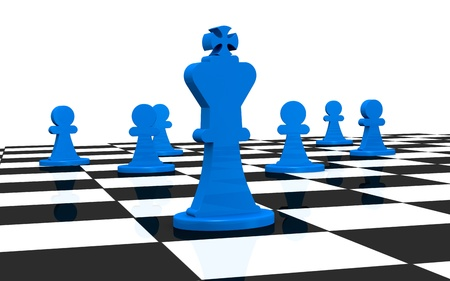 close up of a chess board with the king and other pieces on background (3d render) photo