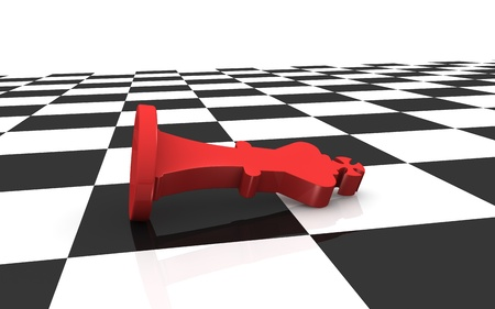 close up of a chess board with the king died (3d render) photo
