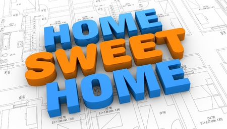 the home sweet home phrase placed over a project plan (3d render) Stock Photo - 11505670