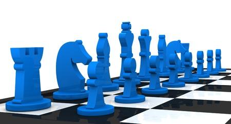 plan de accion: cerca de un tablero de ajedrez con las piezas en su posición inicial (3d)