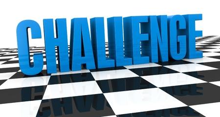 plan de accion: cerca de un tablero de ajedrez con la palabra: desafío, sobre ella (3d render) Foto de archivo
