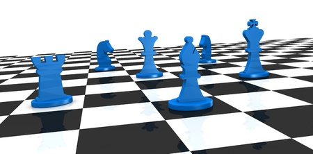 close up of a chess board with some pieces over it (3d render) photo