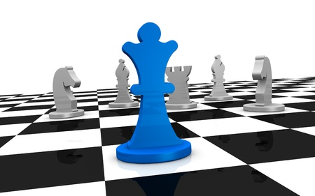 close up of a chess board with one piece on front and some of different color on background (3d render) photo