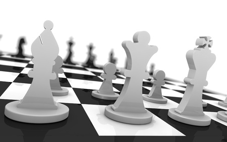 close up of a chess board with the pieces in starting position (3d render) photo