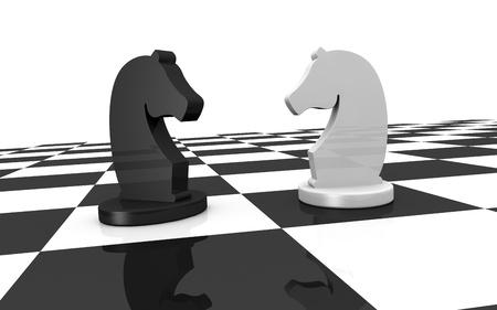 close up of a chess board with two pieces of different colors (3d render) photo