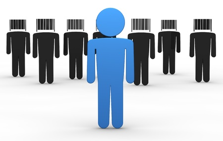 identify: some cartoon men with a bar code instead of the head and one with a normal head in front of them (3d render) Stock Photo