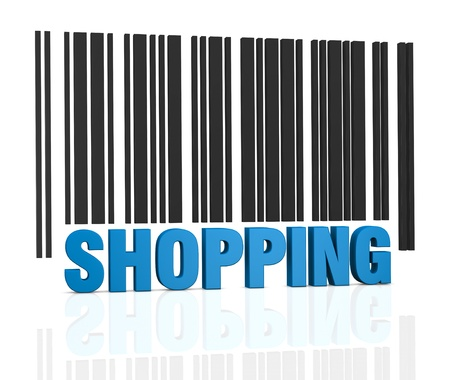laser tag: one bar code with the word: shopping, instead of numbers (3d render)