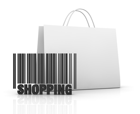 one shopping bag with a barcode (3d render) photo