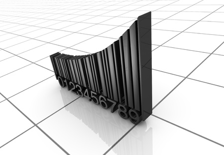 one growing chart made with the code bar (3d render) Stock Photo - 11505578