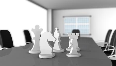 plan de accion: una sala de reuniones con las piezas de ajedrez sobre la mesa (3d) Foto de archivo