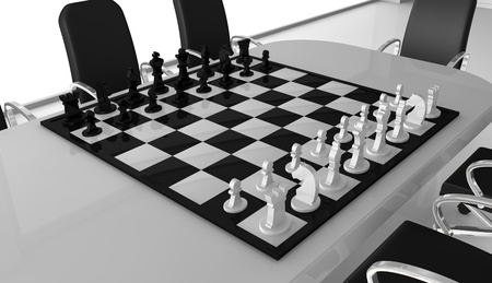 one meeting room with a chessboard over the table (3d render) photo
