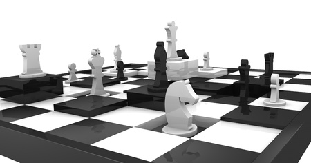 closeup of a chessboard with some squares at different height and some piece over it (3d render) photo