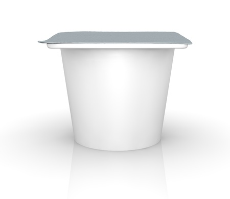 One yogurt cup with blank space for general purpose (3d render) photo