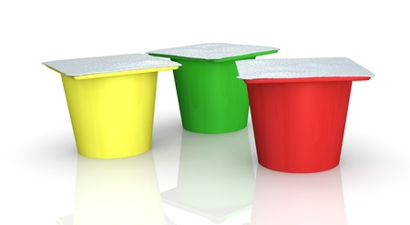 three cups of yoghurt in different colors (3d render) photo