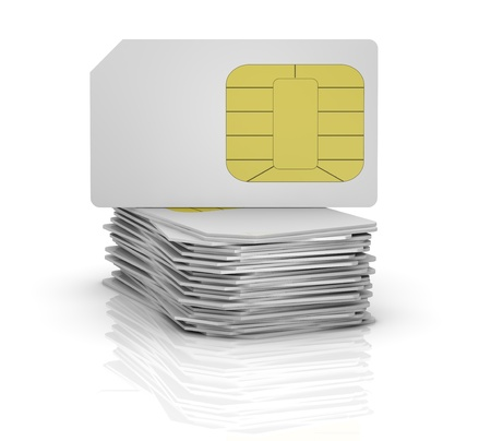 one stack of sim cards with the one on top (3d render) photo