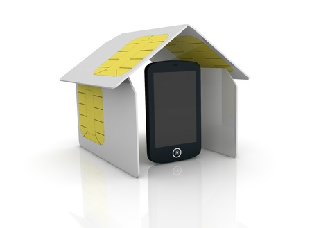 one house made with sim cards with one cell phone within it (3d render) photo