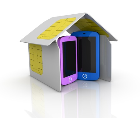 one house made with sim cards with two cell phones within it (3d render) photo