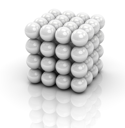 one cube formed by many spheres (3d render) photo