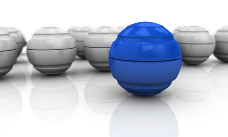 blue network: close up of a blue sphere with others in background (3d render) Stock Photo