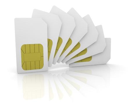 key card: some sim cards in a fan shape (3d render) Stock Photo