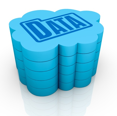one big cloud with a folder data icon on top, concept of remote data storage (3d render) Stock Photo - 11505711