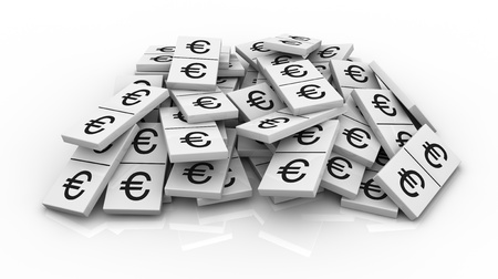 one pile of domino pieces with the euro currency symbol instead of numbers (3d render) photo