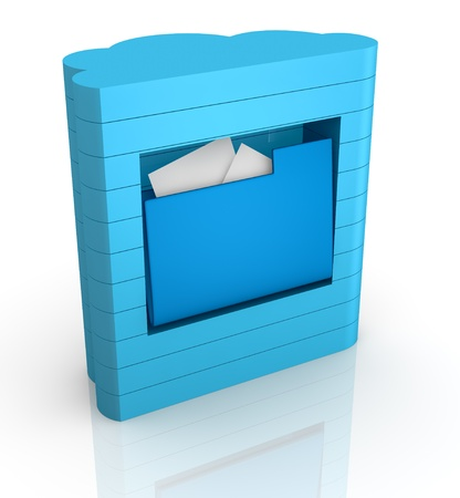 remote server: one computer server with a cloud shape, concept of remote data storage (3d render)