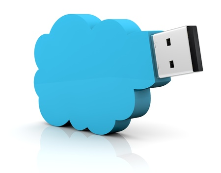 one usb key with a cloud shape, concept of remote data storage (3d render) photo