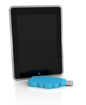 one tablet pc with a usb key with a cloud shape, concept of remote data storage (3d render) Stock Photo - 11505669