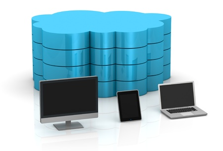 one desktop computer, tablet pc and notebook and a big cloud on background, concept of remote data storage (3d render) Stock Photo - 11505701